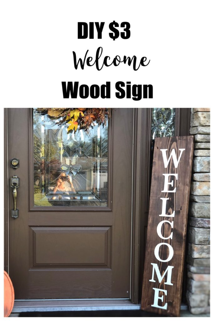 DIY $3 Welcome Wood Sign from FrugallyFantastic.com, these supplies were found in Target's Dollar Spot! You can have this done in a couple of hours.