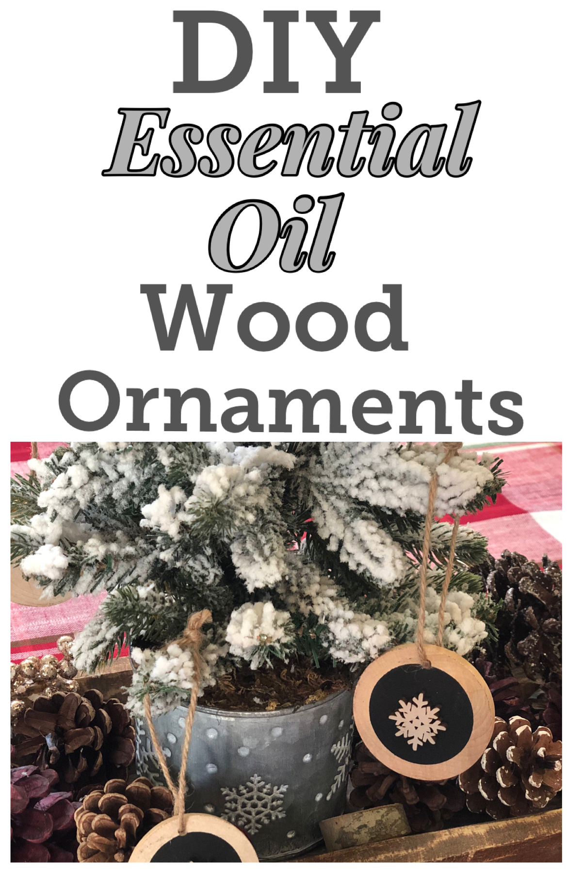 DIY Essential Oil Wood Ornaments, make these great smelling ornaments for a festive touch to your Christmas tree in less than 5 minutes! FrugallyFantastic.com