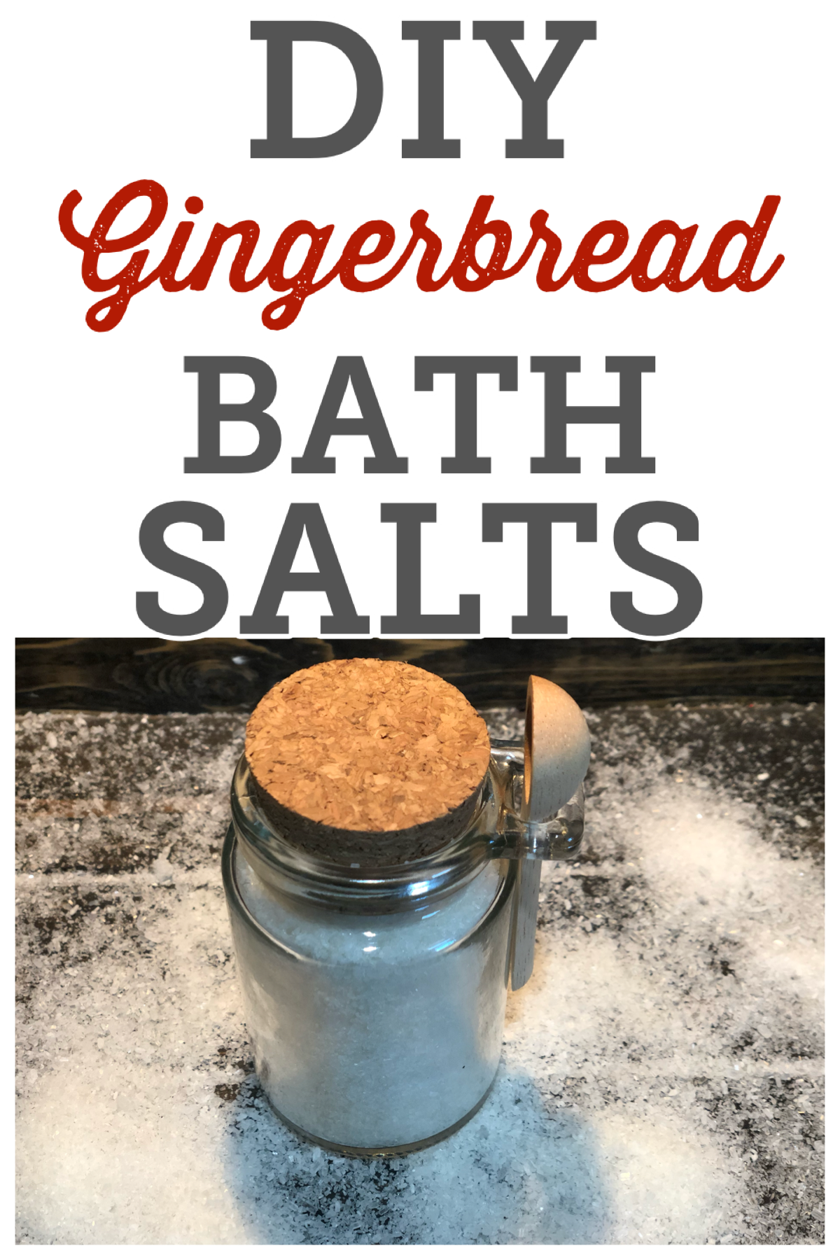 DIY Gingerbread Bath Salts, this homemade gift can be made in 5 minutes right in your kitchen! FrugallyFantastic.com