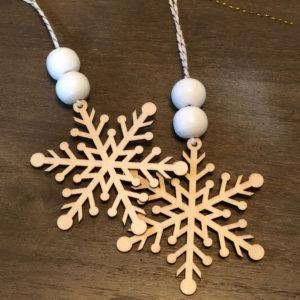 DIY Wood Bead and Snowflake Ornaments FrugallyFantastic.com