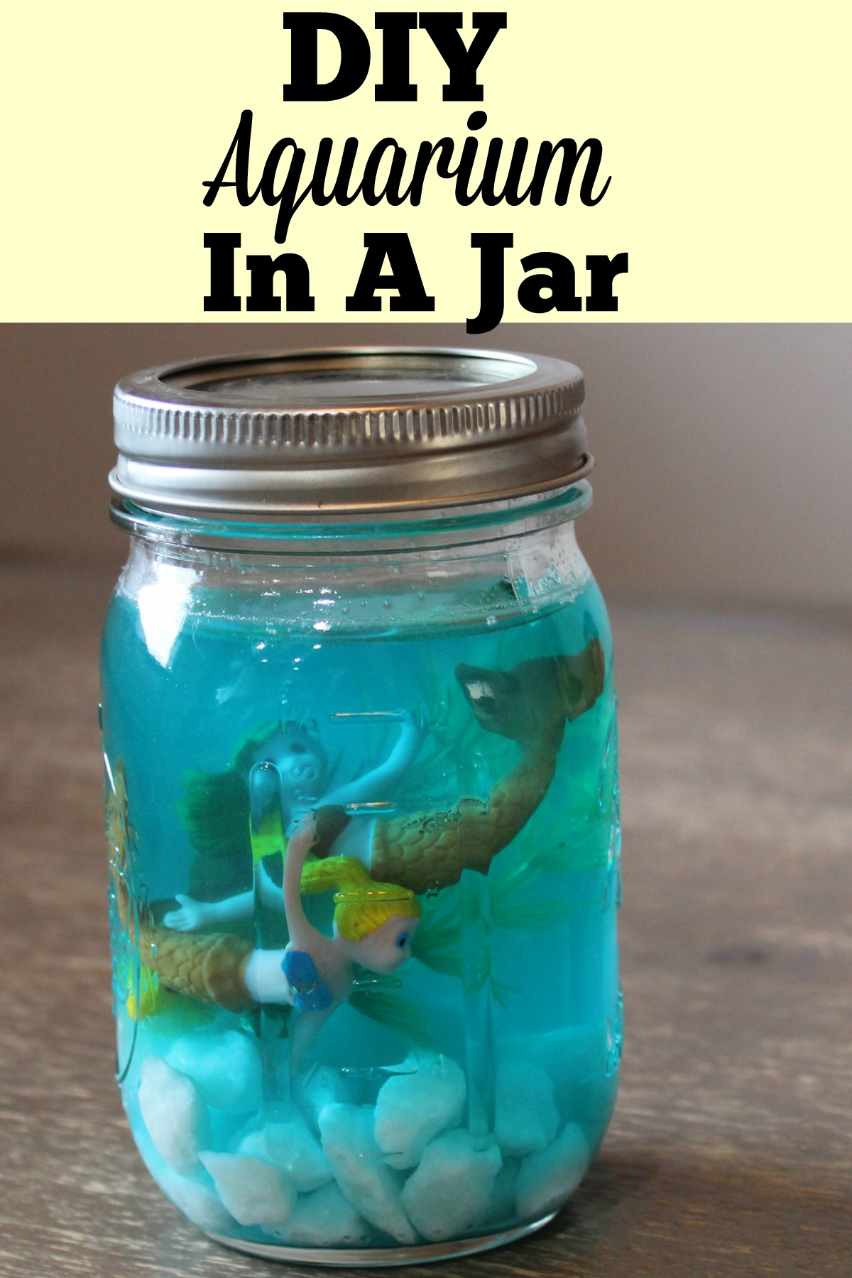 DIY Aquarium In A Jar - Hey guys, I'm back with another quick and easy craft idea for the kids! This DIY Aquarium In A Jar is a great way to keep the younger kids entertained!