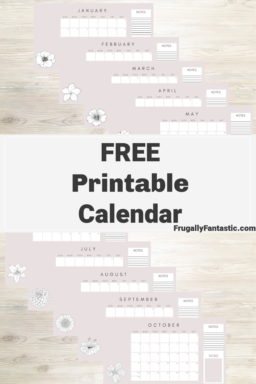 Free Printable Calendar FrugallyFantastic.com