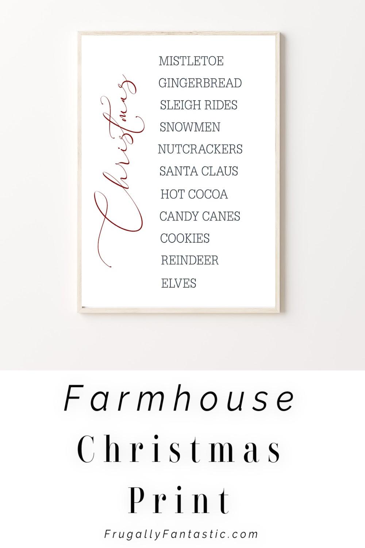 Free Farmhouse Christmas Printable FrugallyFantastic.com
