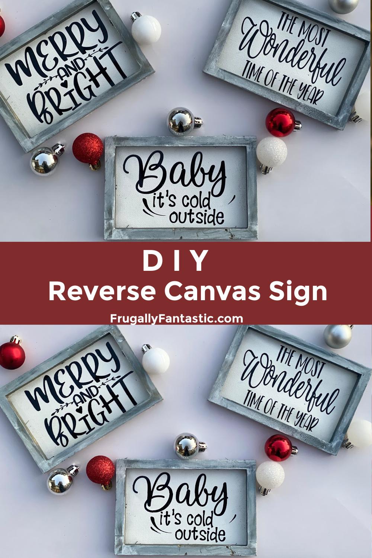 DIY Christmas Reverse Canvas Sign FrugallyFantastic.com